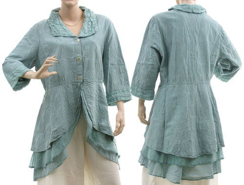 Fancy embroidered silk jacket blouse in pale blue L-XL