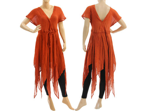 Extravagant boho long fringed linen dress in rust S-M