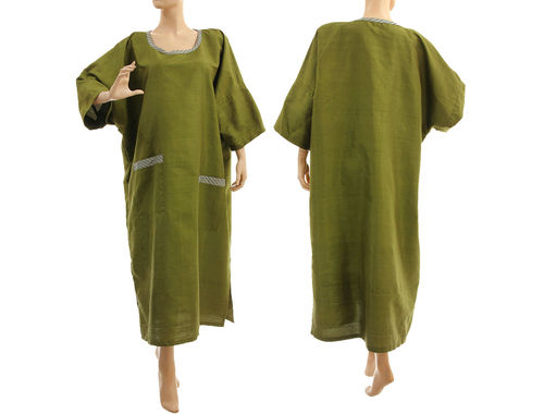 Lagenlook party evening dress, shantung silk in olive green L-XXL