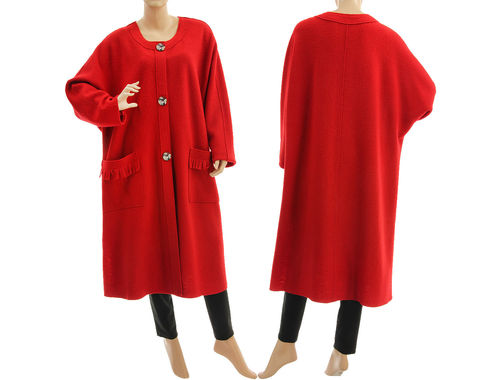 Must have coat to wear all year round, merino wool in red L-XXL