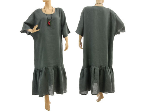 Maxi lagenlook plus size ruffled linen dress in grey L-XXL