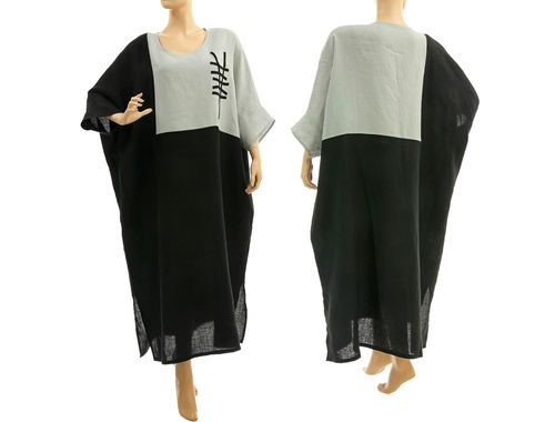Plus size lagenlook linen maxi dress caftan in black pale grey L-XXL