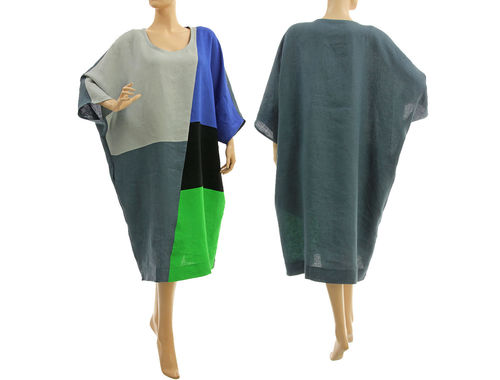 Wide lagenlook plus size linen summer dress, in grey blue black green L-XXL