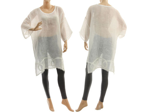 Linen summer tunic, beach dress with fringes, in white S-XL