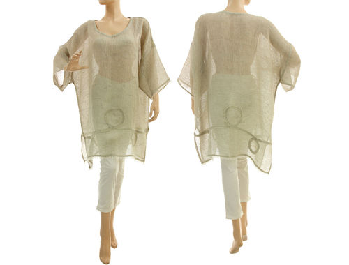 Linen summer tunic, beach dress with fringes, in natural S-XL