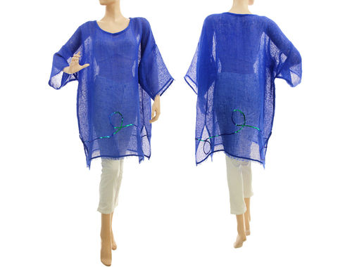 Linen summer tunic, beach dress with sequins, in cobalt blue S-XL
