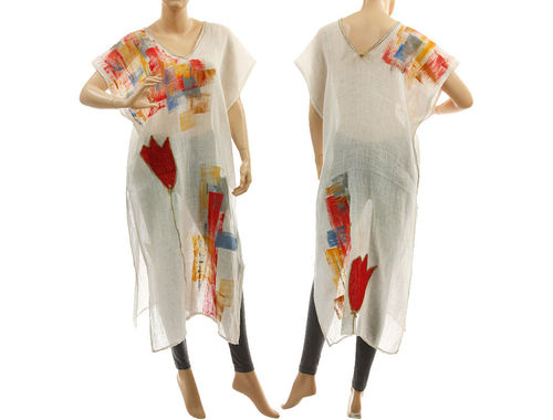 White boho linen summer tunic with hand painted tulips S-M