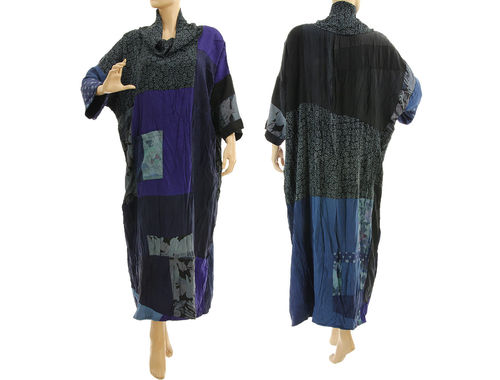 Maxi plus size dress, upcycled patchwork crushed silk in blue colours L-XXL