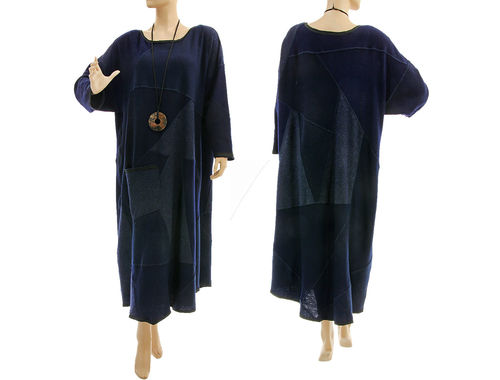 Maxi sweater dress, knitted wool patchwork in dark blue XL-XXL