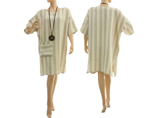 Lagenlook striped linen summer dress in ecru and natural S-XL