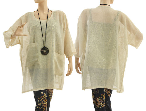 Oversized tunic with pockets, linen mix mesh fabric in natural S-XL