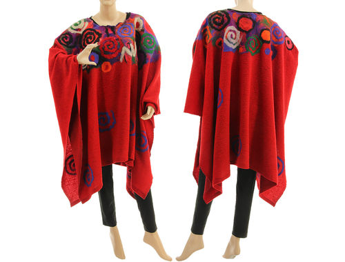 Boho plus size poncho cape, red boiled wool with felt S-XXXL