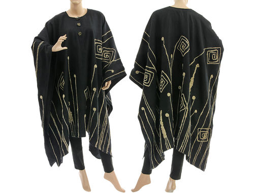Lagenlook plus size linen poncho with ribbon applications, in black S-XXL