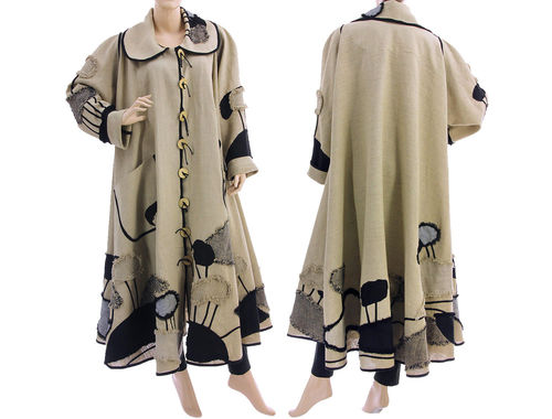 Plus size eye-catcher maxi linen coat in natural with black L-XXXL