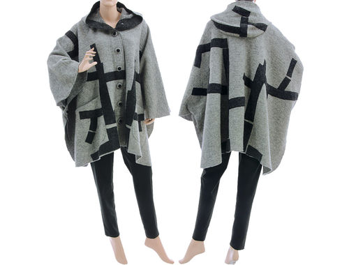 Boho hooded poncho cape with tree, boiled wool light and dark grey M-XXL