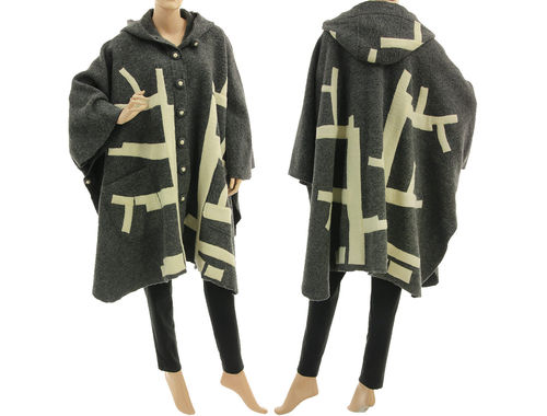 Boho hooded poncho cape with tree, boiled wool grey ecru M-XXXL