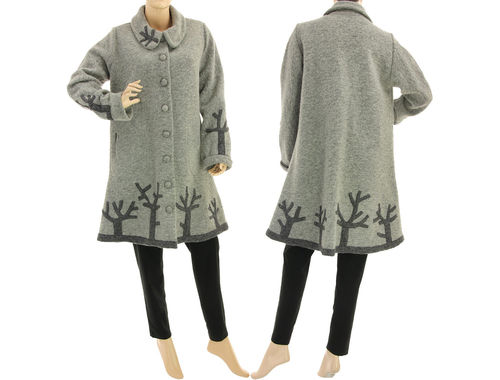 Boho fall winter coat with branches, boiled wool in grey M-L