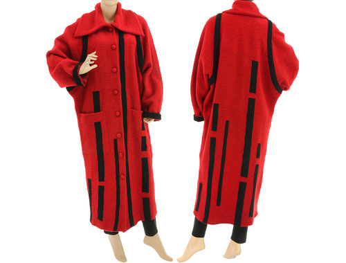 Lagenlook maxi coat with stripes boiled wool in red black M-L