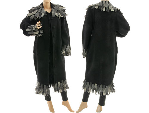 Boho maxi fringed coat boiled wool in black grey S-M