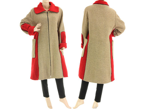 Cozy A-line fall winter coat, boiled wool in beige red M-L