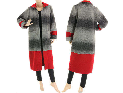 Cute lagenlook fall winter coat, boiled wool in grey red M-L