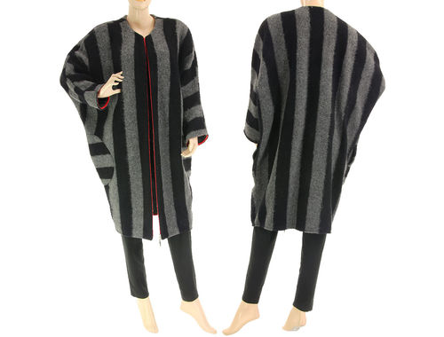 Oversized fall winter striped coat, boiled wool in black grey L-XL