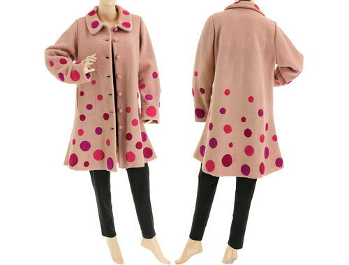 Boho flared coat with polka dots, boiled wool in powder rose M-L