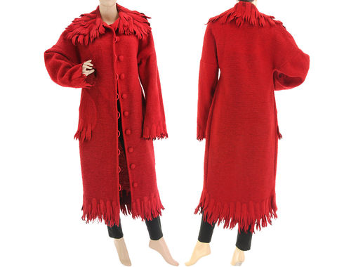 Boho maxi fringed coat boiled wool in red S-M