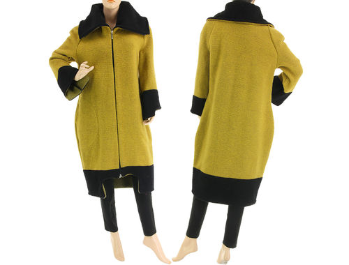 Stylish lagenlook fall winter coat, boiled wool in mustard black M-L
