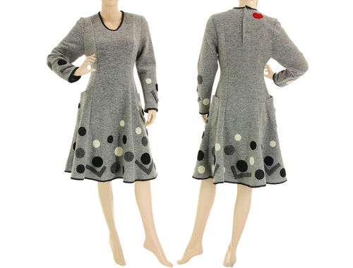 Flared polka dots dress, boiled wool black grey ecru S