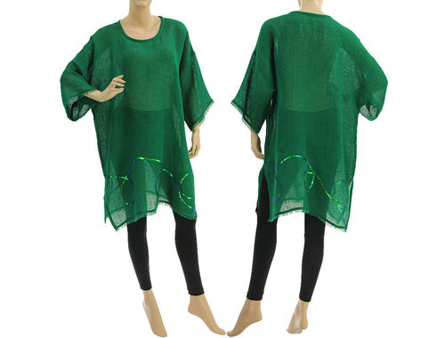 Linen summer tunic, beach dress with sequins, in green S-XL