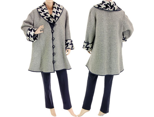 A-line coat with shawl collar, boiled wool in grey L-XL