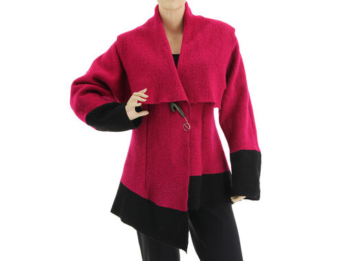 Lagenlook batwing jacket, boiled wool in magenta black S-M