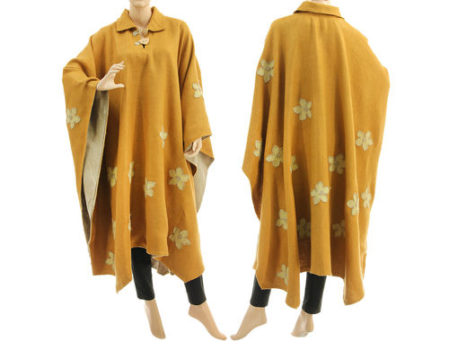 Boho outdoor poncho cape with flowers, linen in honey yellow M-XXXL