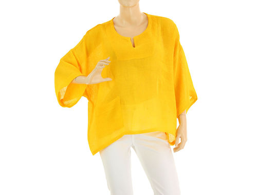 Lagenlook summer tunic top linen gauze in yellow S-L