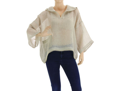 Hooded linen lagenlook summer tunic top in natural S-L