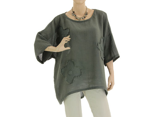 Lagenlook flower tunic top, linen cotton in grey M-XL