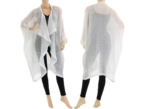 Lagenlook cocoon summer jacket, duster linen gauze in white S-XXL