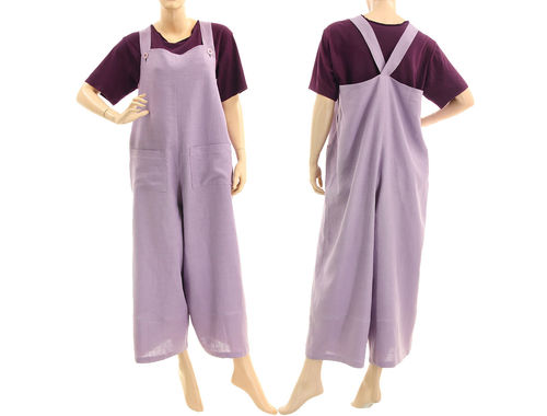 Lagenlook linen womens dungarees overalls in lilac S-L