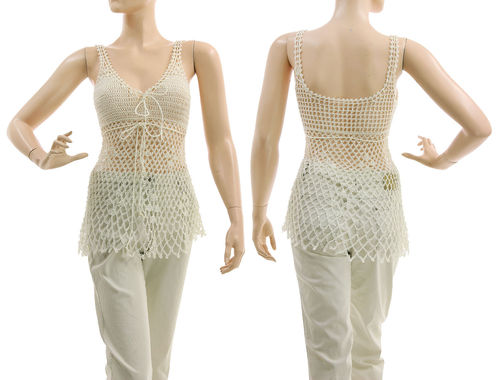 Boho crocheted tank top, viscose in white XS-S