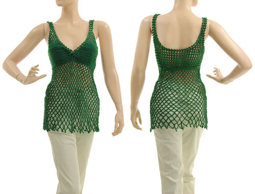 Boho crocheted tank top, cotton in dark green S