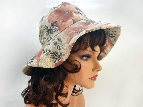 Summer linen floppy bucket sun hat, flowered S-M