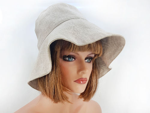 Summer linen floppy bucket sun hat, plain M-L