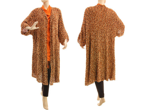 Brown flared knit coat, hand knitted merino wool L-XXL