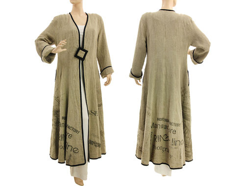 Wide swinging maxi linen coat in natural, with print S