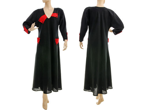 Fancy flared maxi linen dress in black red L