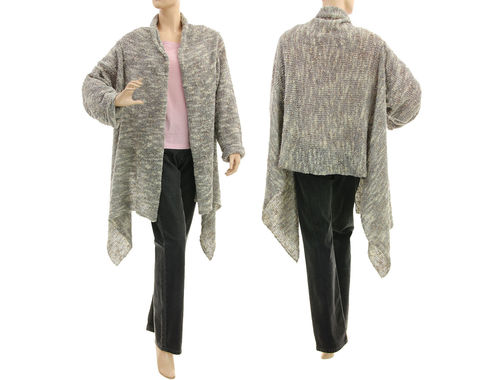 Quirky knitted lagenlook sweater wrap in grey M-L