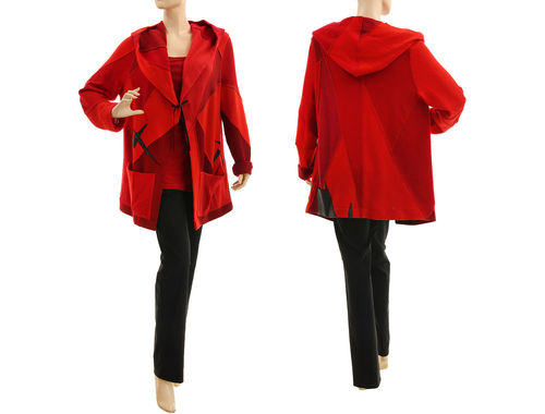 Upcycled hooded wool sweater cardi in red M-L