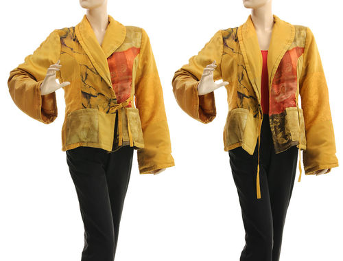Warm upcycled lagenlook jacket, silk in yellow S