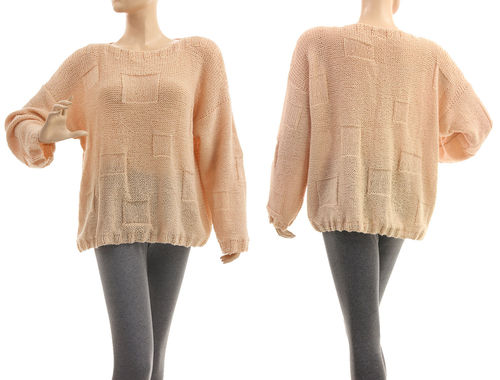 Hand knitted sweater Nancy, merino alpaca in nude M-L